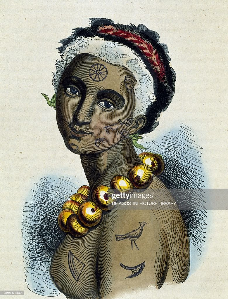 Queen of the Sandwich Islands, 1845, illustration from the Italian edition of Traditions and social, political and religious customs of all peoples of the world, by Nicolas Dally (1792-1862).