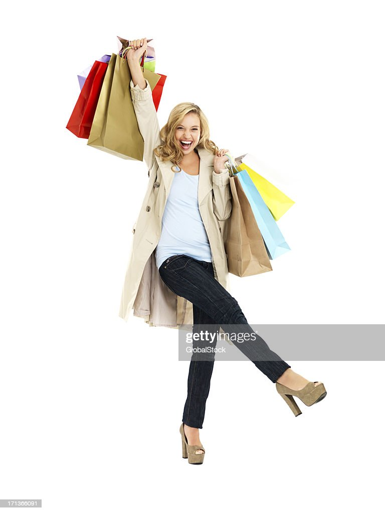 Queen of the shopping spree! : Stock Photo