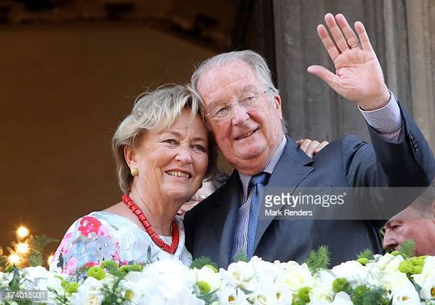 Queen Paola and King Albert II of Belgium visit Liege on July 19 2013 in Liege Belgium