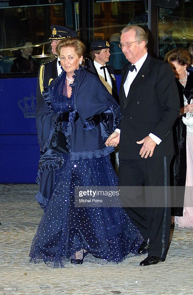 Queen Paola and King Albert of Belgium arrive at the Royal Palace January 31 2002 in Amsterdam Netherlands for a dinner party hosted by Dutch Crown...
