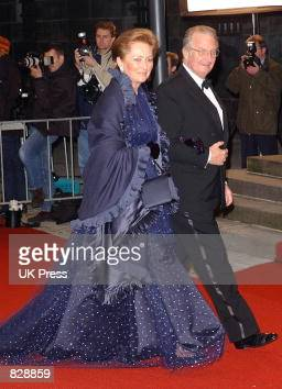 Queen Paola and King Albert of Belgium attend a dinner and party at the Royal Palace in honor of the wedding of Dutch Crown Prince WillemAlexander...