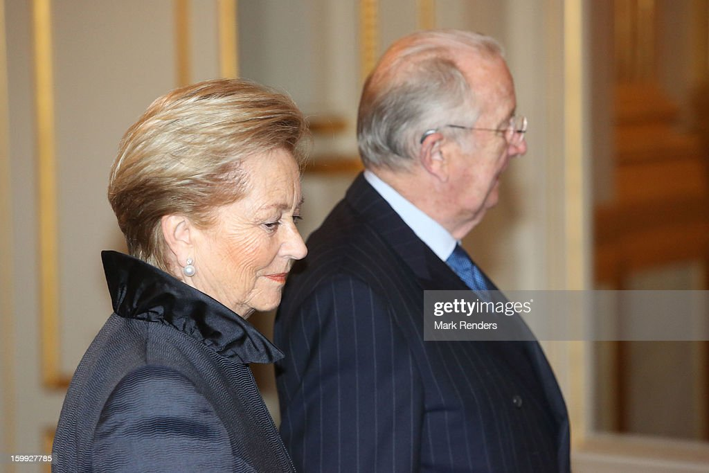 Queen Paola and King Albert of Belgium attend a New Year reception for the European Commission Officials at Palais de Bruxelles on January 23, 2013 in Brussel, Belgium.