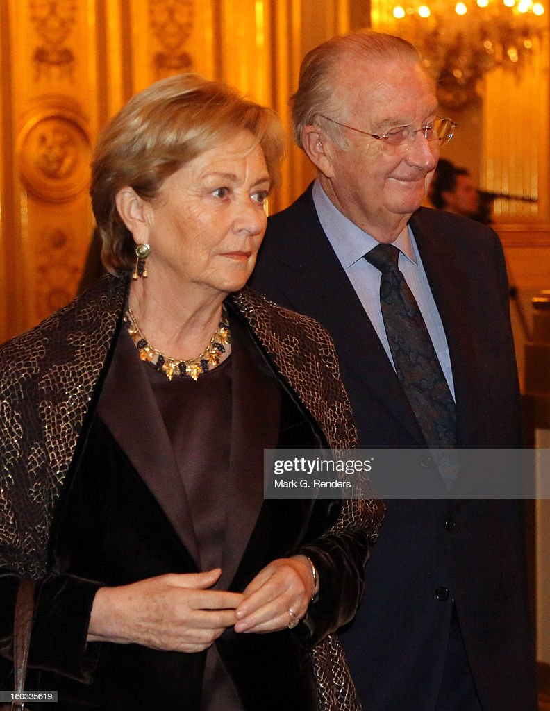 Queen Paola and King Albert of Belgium attend a New Year Reception for Country Officials at the Royal Palace on January 29, 2013 in Brussels, Belgium.