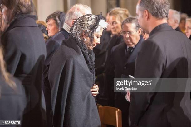 Queen Paola and King Albert of Belgium attend the funeral of Queen Fabiola at Notre Dame Church on December 12 2014 in Laeken Belgium