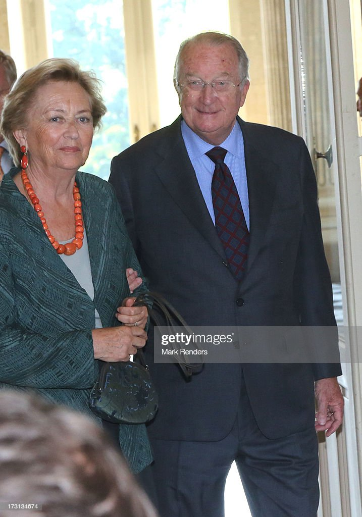 Queen Paola and King Albert of Belgium receive members of COMORI at Laeken Castle on July 8, 2013 in Brussels, Belgium.