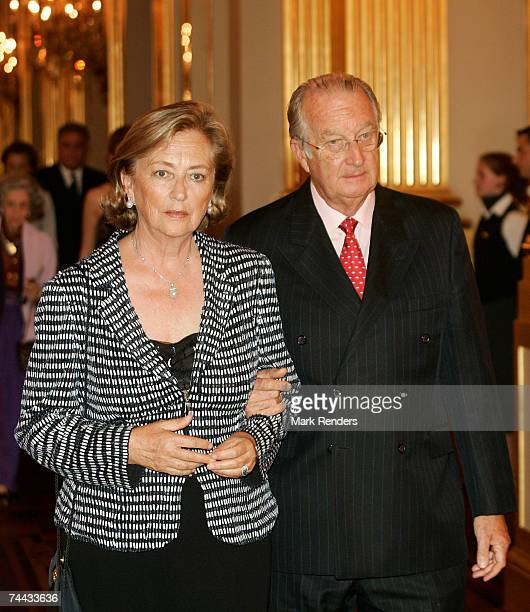 Queen Paola and King Albert of the Belgian Royal family arrive at the European Festivals Association Concert at the Royal Palace on June 7 2007 in...