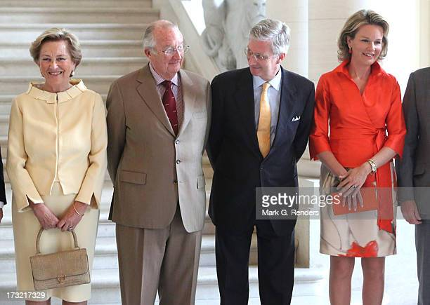 Queen Paola King Albert II Prince Philippe and Princess Mathilde of Belgium meet with former Belgian Prime Ministers at Laeken Castle on July 10 2013...