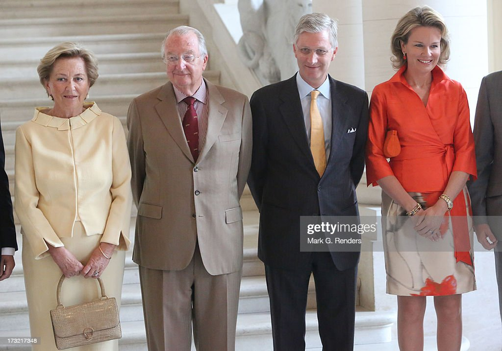 Queen Paola, King Albert II, Prince Philippe and Princess Mathilde of Belgium meet with former Belgian Prime Ministers at Laeken Castle on July 10, 2013 in Brussels, Belgium.