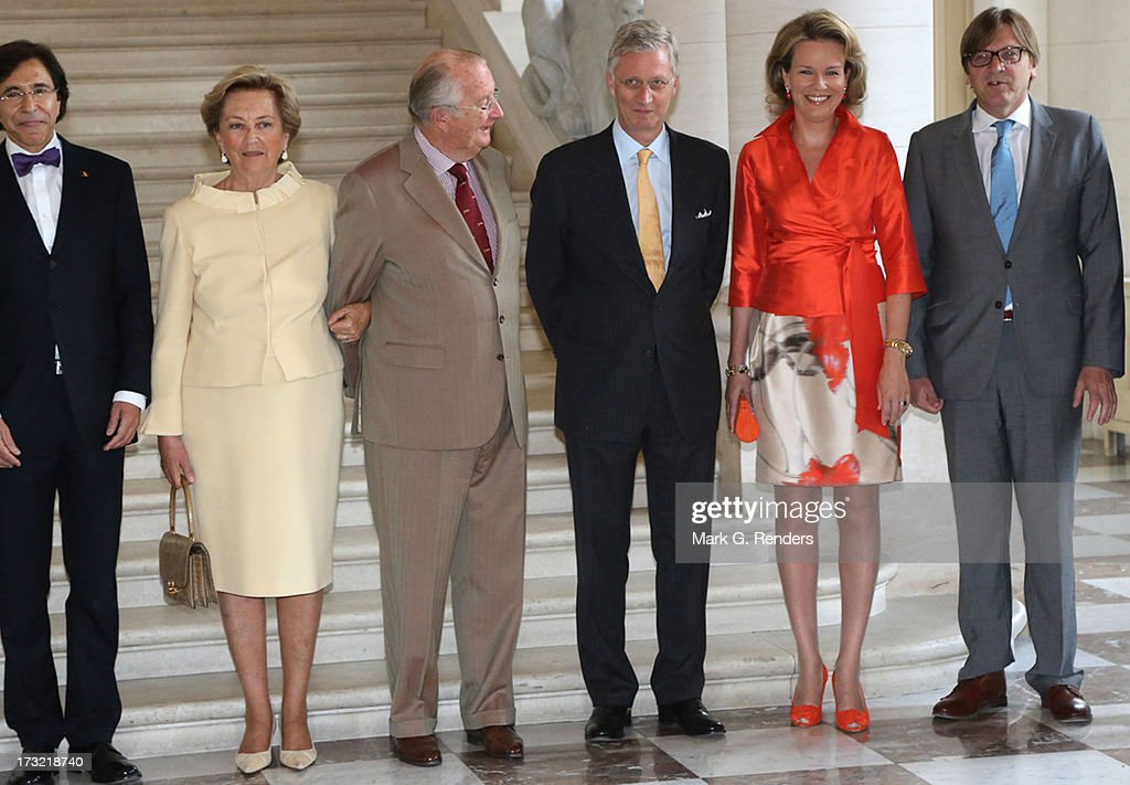 Queen Paola King Albert II Prince Philippe and Princess Mathilde of Belgium meet with Prime Minister of Belgium Elio Di Rupo and former Belgian Prime...