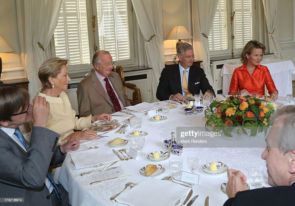 Queen Paola, King Albert II, Prince Philippe and Princess Mathilde of belgium meet former Prime Ministers of Belgium at Laeken Castle on July 10, 2013 in Brussels, Belgium.