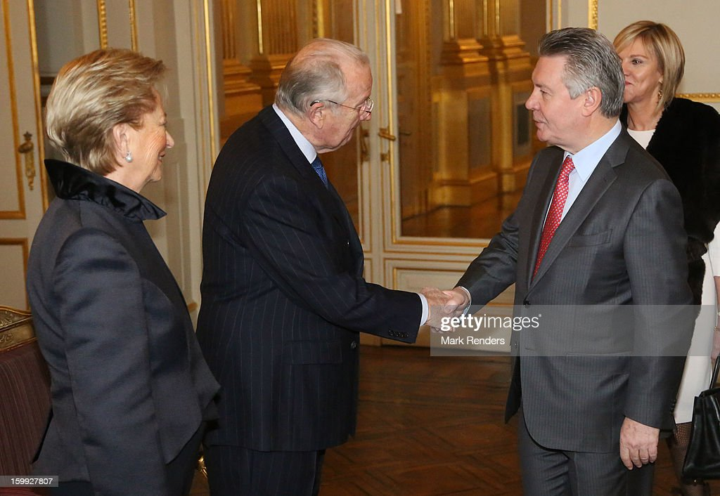 Queen Paola, King Albert of Belgium and European Commissioner for Trade Karel De Gucht attend a New Year reception for the European Commission Officials at Palais de Bruxelles on January 23, 2013 in Brussel, Belgium.