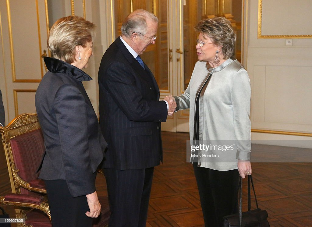 Queen Paola, King Albert of Belgium and Vice President of the European Commission Viviane Reding attend a New Year reception for the European Commission Officials at Palais de Bruxelles on January 23, 2013 in Brussel, Belgium.