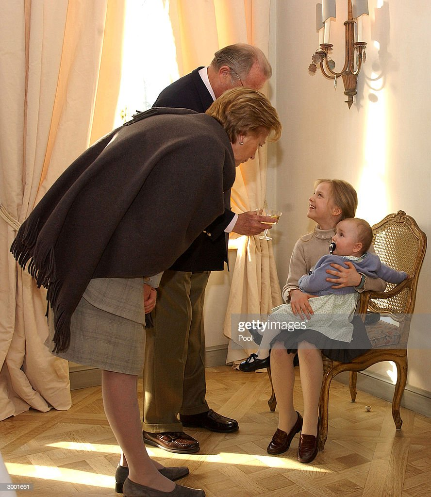 Queen Paola, King Albert, Princess Louisa-Maria and Princess Laetitia-Maria attend a photocall to celebrate Prince Amedeo's 18th birthday on February 20, 2004 in Brussels, Belgium.