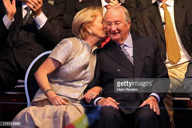 Queen Paola kisses King Albert II of Belgium on the cheek at the 'Bal National' Held Ahead Of Belgium Abdication Coronation on July 20 2013 in...