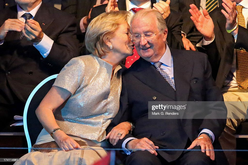 Queen Paola kisses King <a gi-track='captionPersonalityLinkClicked' href=/galleries/search?phrase=Albert+II+of+Belgium&family=editorial&specificpeople=159444 ng-click='$event.stopPropagation()'>Albert II of Belgium</a> on the cheek at the 'Bal National' Held Ahead Of Belgium Abdication & Coronation on July 20, 2013 in Brussels, Belgium.