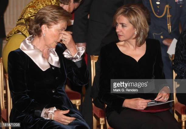 Queen Paola of Belgium and Her Royal Highness Infanta Cristina of Spain attend a concert at Laeken Castle at Laeken Castle on November 16 2010 in...
