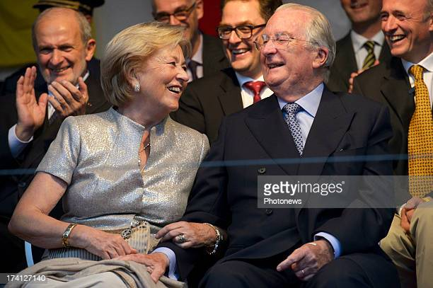 Queen Paola of Belgium and King Albert II of Belgium attend an evening of concerts the 'Bal National' in the Marolles neighbourhood of Brussels on...