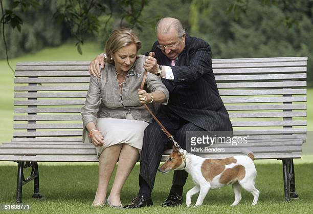Queen Paola of Belgium and King Albert of Belgium attend a press photocall at Laeken Castle on June 17 2008 in Brussels Belgium