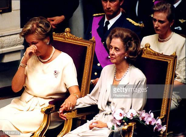 Queen Paola of Belgium and Queen Fabiola at the swearing in of King Albert II of Belgium