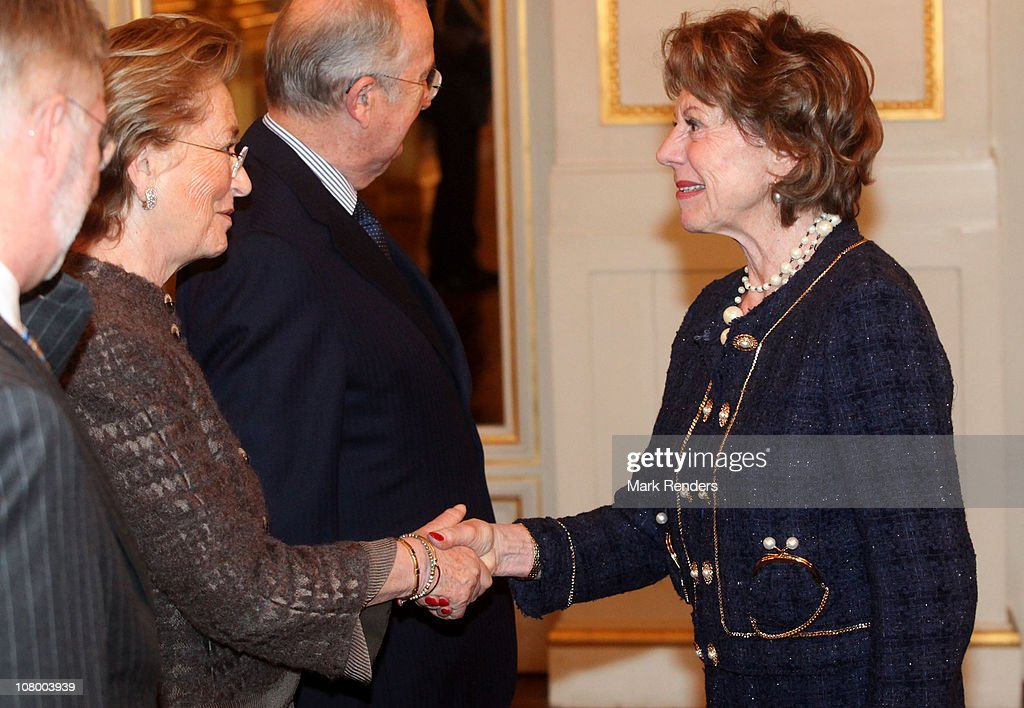 Queen Paola of Belgium and Vice President of the European Commission <a gi-track='captionPersonalityLinkClicked' href=/galleries/search?phrase=Neelie+Kroes&family=editorial&specificpeople=754723 ng-click='$event.stopPropagation()'>Neelie Kroes</a> attend the New Years reception at the Royal Palace on January 12, 2011 in Brussel, Belgium.