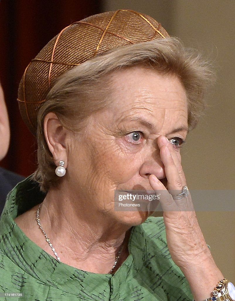 Queen Paola of Belgium appears emotional during the Abdication Ceremony of King Albert II Of Belgium in favour of Prince Philippe at the Royal Palace on July 21, 2013 in Brussels, Belgium.