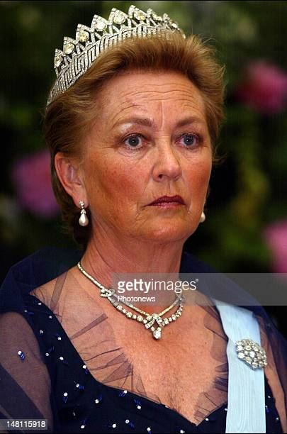 Queen Paola of Belgium at the gala dinner offered to Queen Margrethe of Denmark and Prince Consort Henrik visiting Belgium