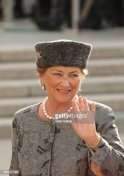 Queen Paola of Belgium attends the wedding ceremony of Prince Guillaume Of Luxembourg and Princess Stephanie of Luxembourg at the Cathedral of our...