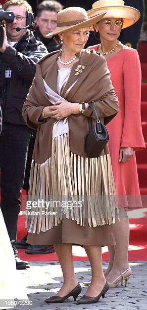 Queen Paola Of Belgium Attends The Wedding Of Prince Laurent Of Belgium Claire Coombs At The St Michael Cathedral In Brussels
