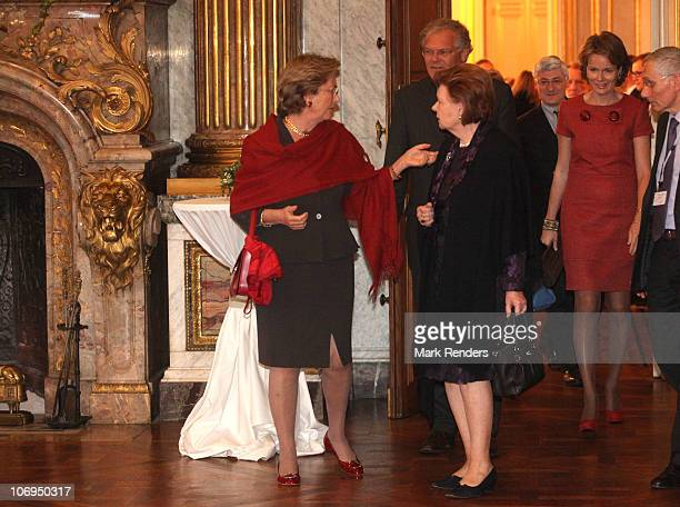 Queen Paola of Belgium Belgian Justice Minister Stefaan De Clerck and Princess Mathilde of Belgium attend a reception after a conference about '...
