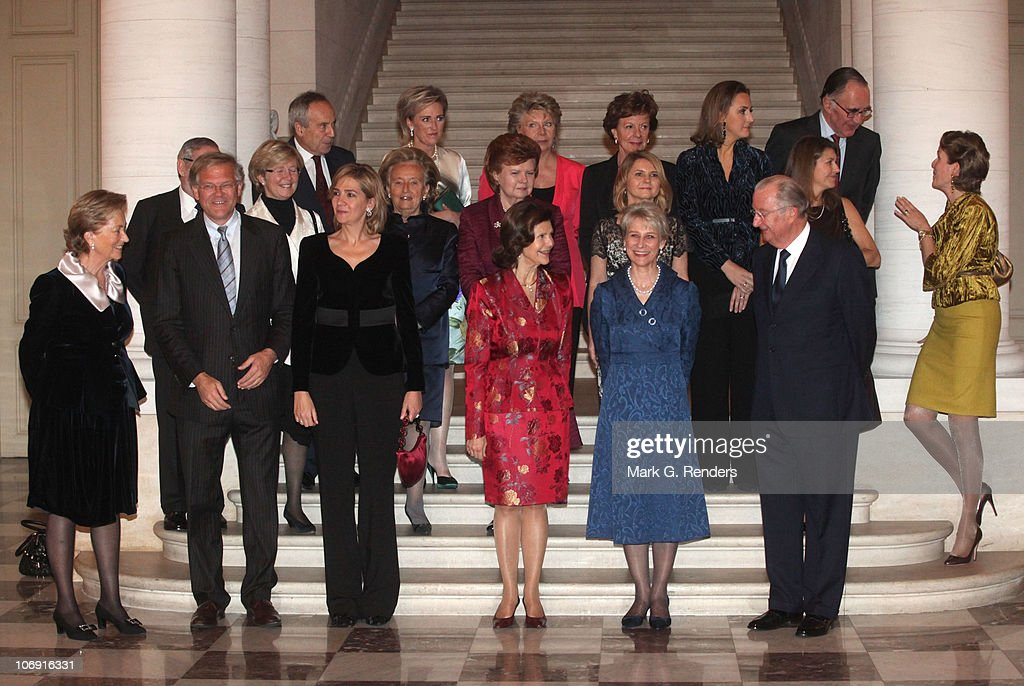 Queen Paola of Belgium, Belgian Justice Minister Stefaan De Clerck, Her Royal Highness Infanta Cristina of Spain, Queen Silvia of Sweden, Her Royal Highness the Duchess of Gloucester, King Albert of Belgium, Professor Gianmaria Flick, Madame Van Rompuy, Madame Bernadette Chirac, Madame Vaira Vike-Freiberga, Mrs Malgorzata Tusk, Madame Margerida Barroso, Princess Mathilde of Belgium, Sir Francis Jacobs, Princess Astrid of Belgium, Madame Neelie Kroes, Madame Viviane Reding, Princess Claire of Belgium and M. Duplat pose for a photo while waiting for a concert at Laeken Castle at Laeken Castle on November 16, 2010 in Brussels, Belgium.
