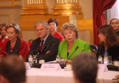 Queen Paola of Belgium Belgian Justice Minister Stefaan De Clerck Viviane Reding and Margerida Barroso attend a conference about ' Vulnerable...