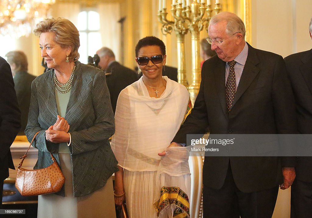 Queen Paola of Belgium, Bogaletch Gebre and King Albert of Belgium assist the King Baudouin African Development Price at the Royal Palace on May 22, 2013 in Brussel, Belgium.