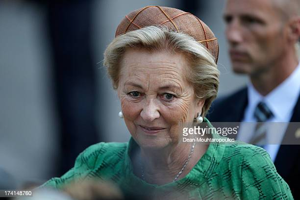Queen Paola of Belgium is seen in front of the Cathedral of St Michael and Saint Gudula prior to the Abdication Of King Albert II Of Belgium...