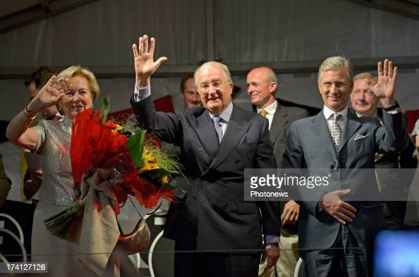 Queen Paola of Belgium King Albert II of Belgium and Prince Philippe of Belgium attend an evening of concerts the 'Bal National' in the Marolles...