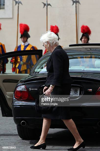 Queen Paola of Belgium leaves the Cortile di San Damaso after a private audience with Pope Francis on April 26 2014 in Vatican City Vatican The late...