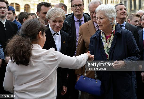 Queen Paola of Belgium pictured during a visit of the Royal couple to the Habbekrats association and their project called Surplas in favour of...