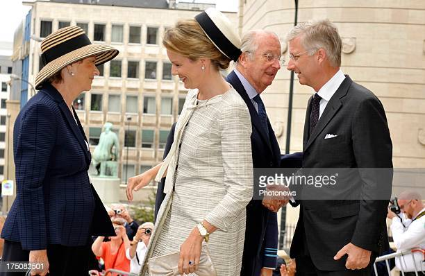 Queen Paola of Belgium Queen Mathilde of Belgium King Albert ll of Belgium and King Philippe of Belgium attend the special mass held for the 20th...