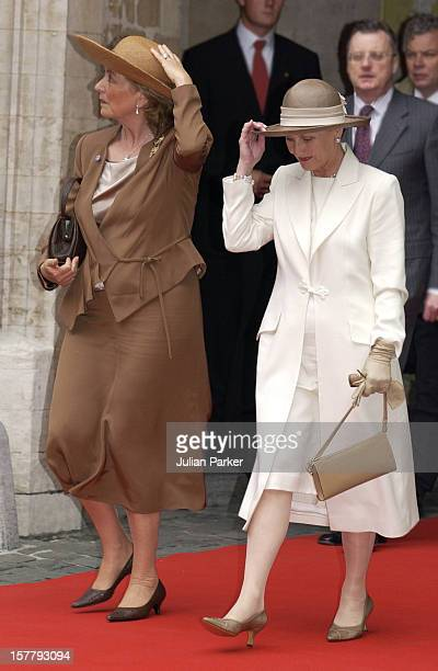 Queen Paola Of Belgium Queen Sonja Of Norway At The City Hall In Brussels During A Norwegian State Visit To Belgium