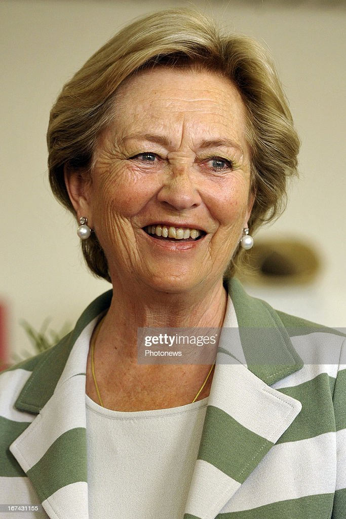 Queen Paola of Belgium visits a Military Hospital on April 25, 2013 in Neder-Over-Heembeek, Belgium.