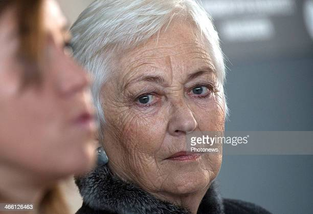 Queen Paola of Belgium visits Child Focus' office on January 31 2014 in Brussels Belgium