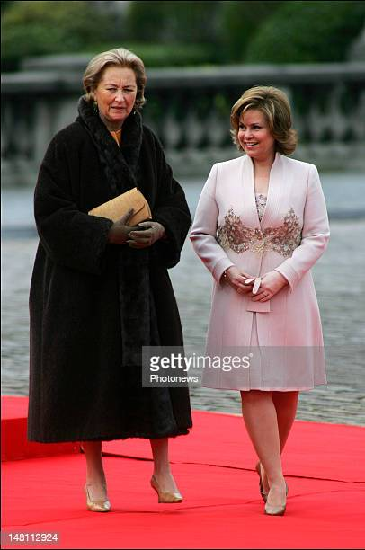 Queen Paola of Belgium welcomes Grand Duchess Maria Teresa of Luxemburg who is visiting Belgium with her husband the Grand Duke Henri of Luxemburg
