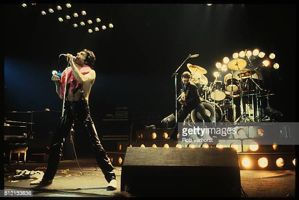 Queen perform on stage at Ahoy Rotterdam Netherlands 29th January 1979 LR Freddie Mercury John Deacon
