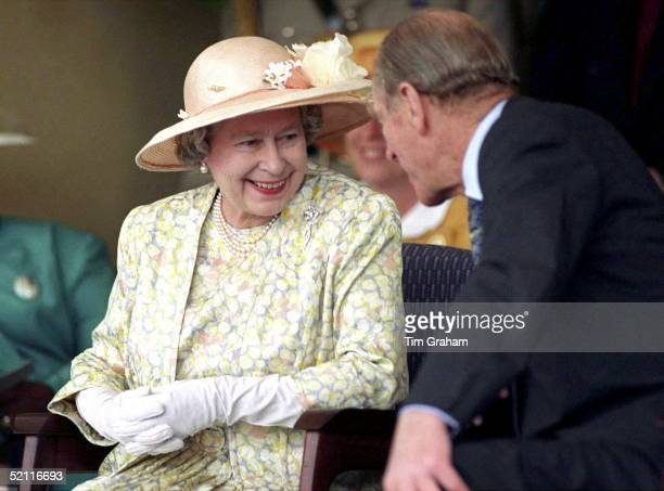 Queen Prince Philip Chatting Together During A Visit To Vukuzakhe High School In Durban South Africa