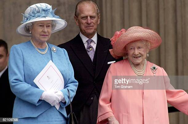 Queen Prince Philip Queen Mother Attending A Thanksgiving Service At St Paul's Cathedral For The 100th Birthday Of The Queen Mother