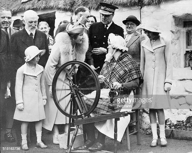 Queen Princesses at Empire Exposition Glasgow Scotland En route to launch the world's largest liner at Clydebank Queen Elizabeth and the two...
