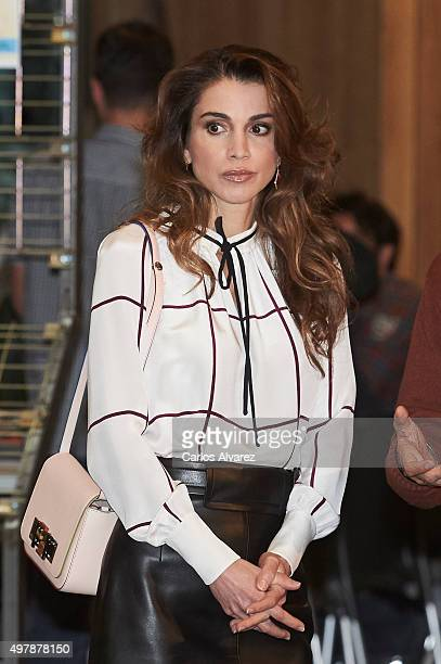 Queen Rania Abdullah of Jordan visits the Prado Media Lab cultural center on November 19 2015 in Madrid Spain