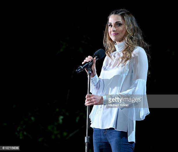 Queen Rania AlAbdullah of Jordan presents onstage at the 2016 Global Citizen Festival to End Extreme Poverty by 2030 at Central Park on September 24...