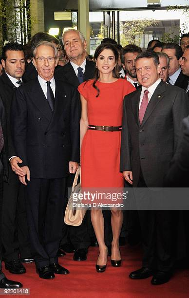 Queen Rania and King Abdullah II of Jordan arrive at the Palazzo Mezzanotte to attend the JordanItaly Business Forum on October 22 2009 in Milan...