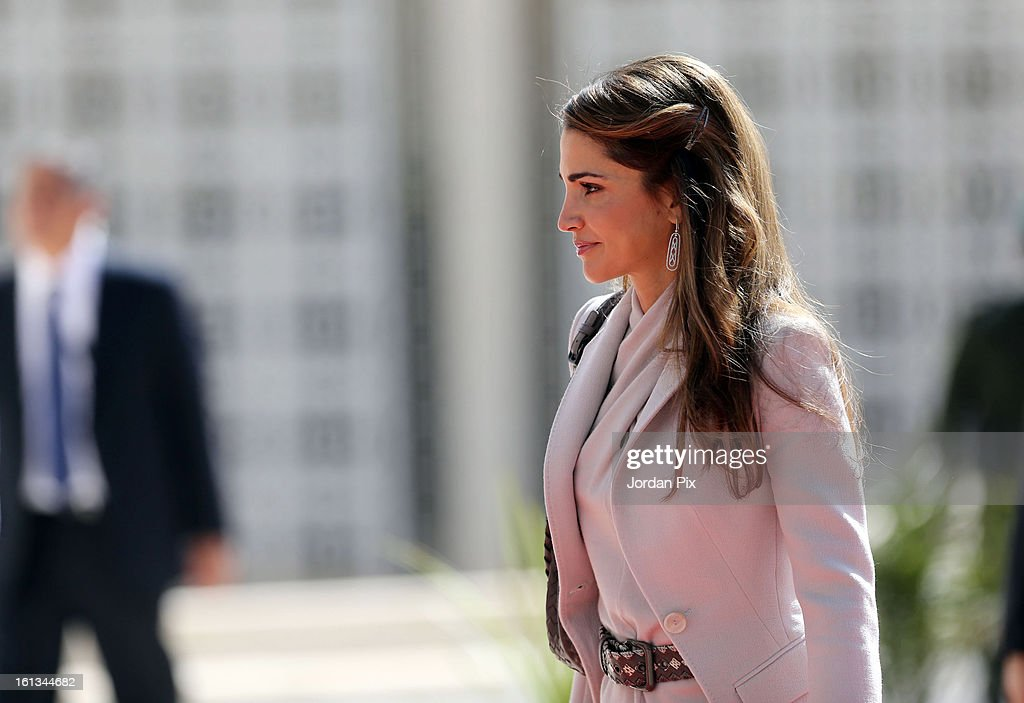 Queen Rania arrives as Jordan's King Abdullah inaugurates the newly elected parliament on February 10, 2013 in Amman, Jordan. The King addressed the parliament with a pledge to move forward with democratization, adding that he will help choose the next prime minister.