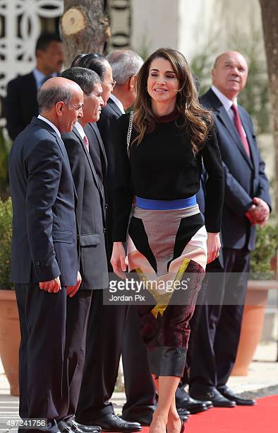 Queen Rania arrives at a special ceremony where Jordan's King Abdullah II inaugurates the Jordanian Parliament third ordinary session giving a throne...